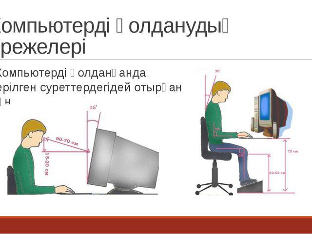 Компьютерді қолданудың ережелері Компьютерді қолданғанда берілген суреттердег...