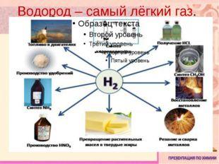 Водород – самый лёгкий газ.