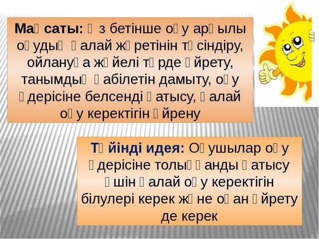 Мақсаты: Өз бетінше оқу арқылы оқудың қалай жүретінін түсіндіру, ойлануға жүй...