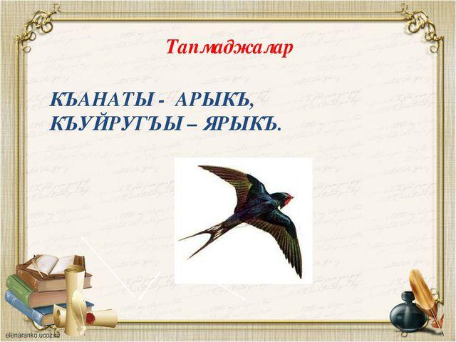 КЪАНАТЫ - АРЫКЪ, КЪУЙРУГЪЫ – ЯРЫКЪ. Тапмаджалар