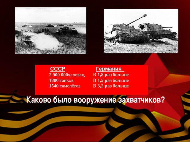 Каково было вооружение захватчиков? СССР 2 900 000человек, 1800 танков, 1540...