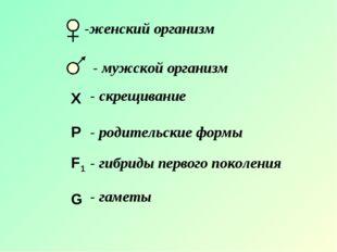X P F1 G -женский организм - мужской организм - скрещивание - родительские фо