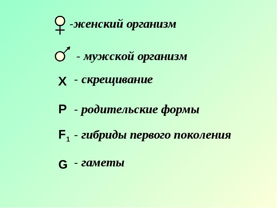X P F1 G -женский организм - мужской организм - скрещивание - родительские фо...