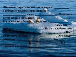 Животных арктической зоны кормит __________. Морскими водорослями питаются __