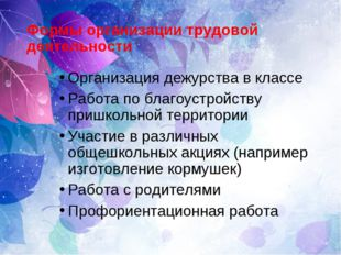 Формы организации трудовой деятельности Организация дежурства в классе Работа