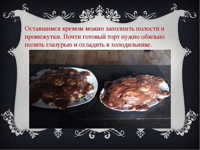 Оставшимся кремом можно заполнить полости и промежутки. Почти готовый торт ну...