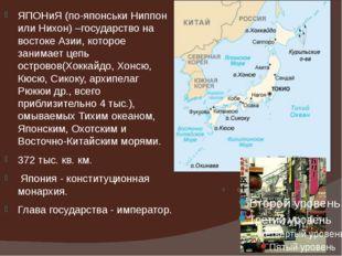 ЯПОНиЯ (по-японськи Ниппон или Нихон) –государство на востоке Азии, которое з