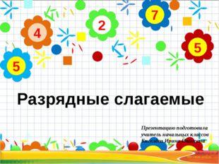 2 4 5 7 5 Разрядные слагаемые Презентацию подготовила учитель начальных клас