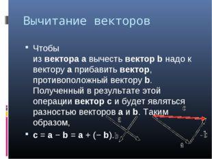 Вычитание векторов Чтобы извектораавычестьвекторbнадо к векторуаприба