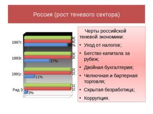 Россия (рост теневого сектора) Черты российской теневой экономики: Уход от на