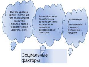 Социальные факторы Низкий уровень жизни населения, что способствует развитию