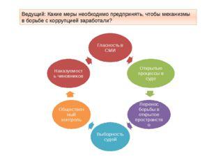Ведущий: Какие меры необходимо предпринять, чтобы механизмы в борьбе с корруп