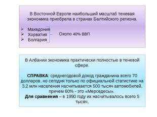 В Восточной Европе наибольший масштаб теневая экономика приобрела в странах Б