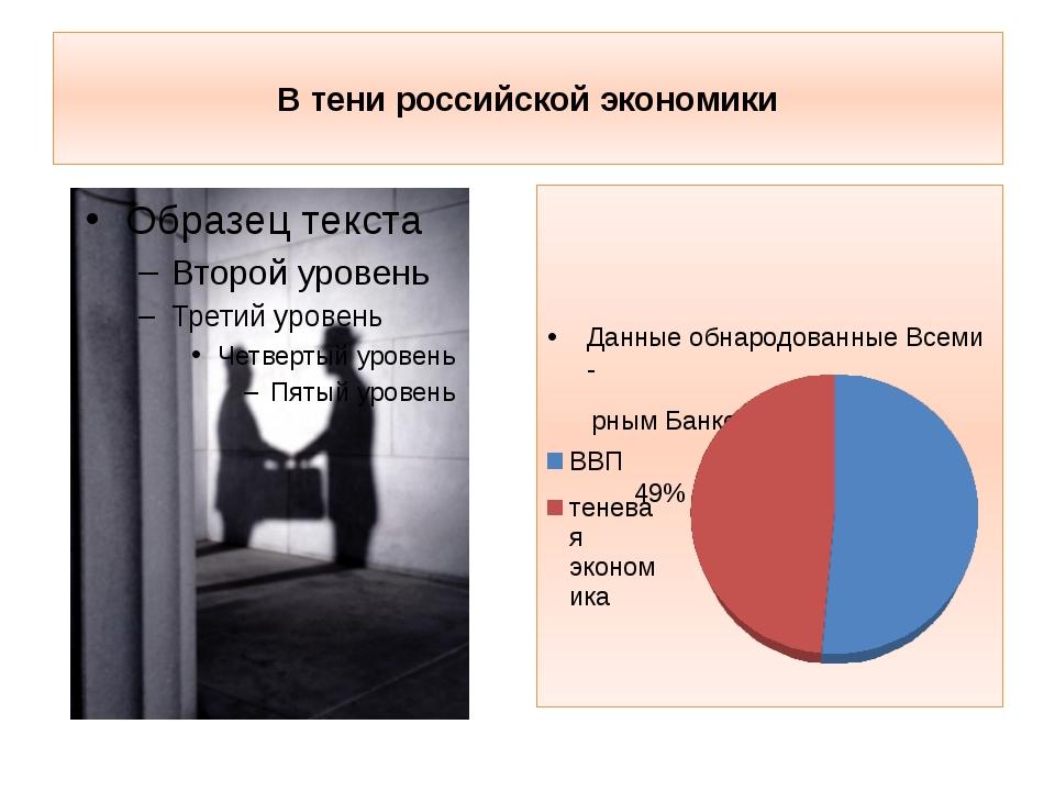 В тени российской экономики Данные обнародованные Всеми - рным Банком в 2010...