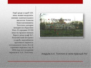 Усадьба А.К. Толстого в селе Красный Рог Ещё среди усадеб XIX века можно выде
