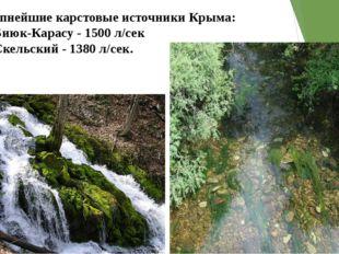 Крупнейшие карстовые источники Крыма: •Биюк-Карасу - 1500 л/сек •Скельский