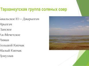 Тарханкутская группа соляных озер Бакальское Ю – Джарылгач Ярылгач Панское Ак