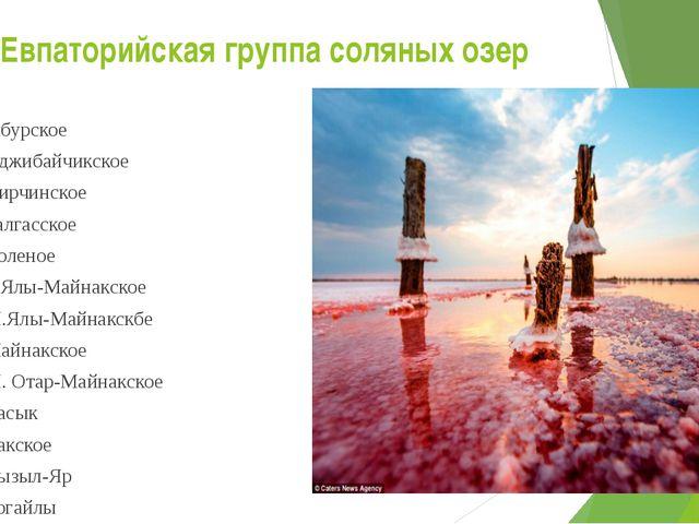 Евпаторийская группа соляных озер Ойбурское Аджибайчикское Аирчинское Галгасс...