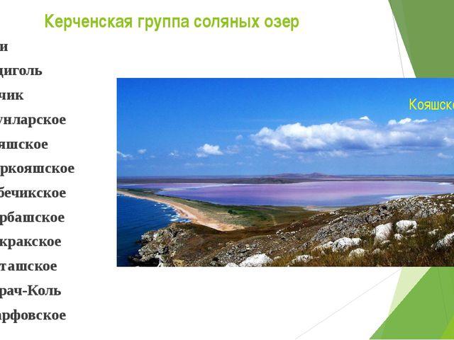 Керченская группа соляных озер Ачи Ащиголь Качик Узунларское Кояшское Киркояш...