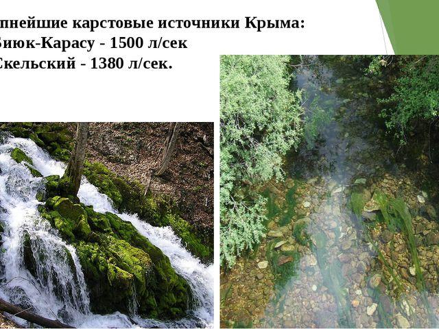 Крупнейшие карстовые источники Крыма: •Биюк-Карасу - 1500 л/сек •Скельский...