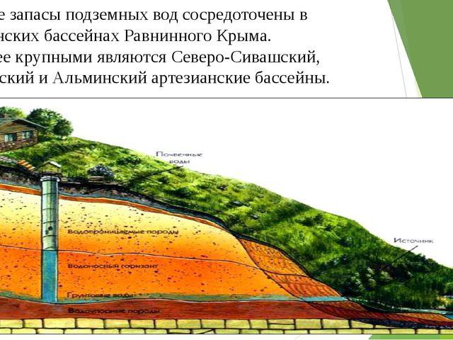 Большие запасы подземных вод сосредоточены в артезианских бассейнах Равнинног...