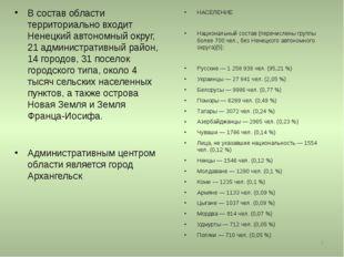 * В состав области территориально входит Ненецкий автономный округ, 21 админи