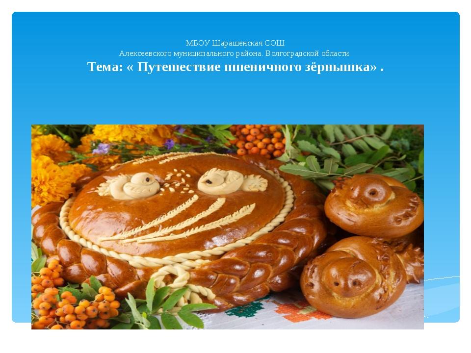 МБОУ Шарашенская СОШ Алексеевского муниципального района. Волгоградской обла...