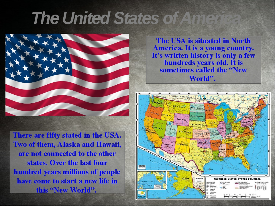 There are fifty stated in the USA. Two of them, Alaska and Hawaii, are not co...