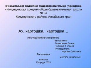 Муниципальное бюджетное общеобразовательное учреждение «Кулундинская средняя