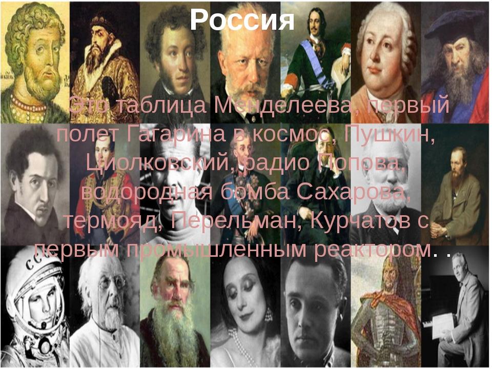 Россия Это таблица Менделеева, первый полет Гагарина в космос, Пушкин, Циолко...