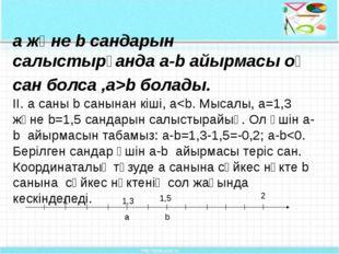 а және b сандарын салыстырғанда a-b айырмасы оң сан болса ,а>b болады. II. a