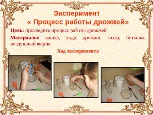 Эксперимент « Процесс работы дрожжей» Цель: проследить процесс работы дрожжей