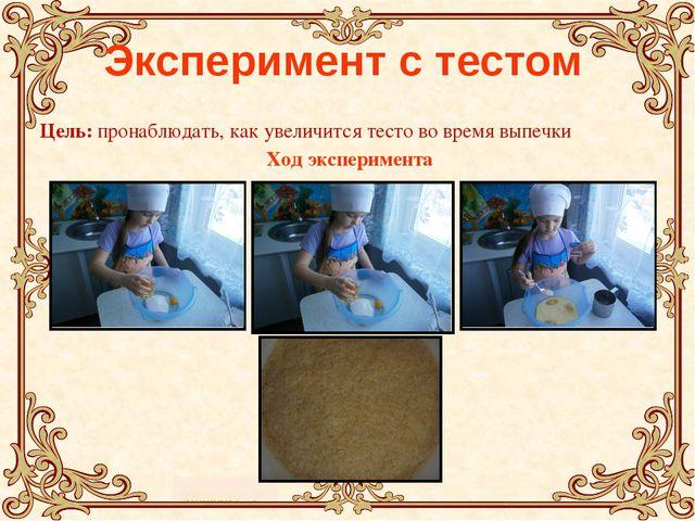 Эксперимент с тестом Цель: пронаблюдать, как увеличится тесто во время выпеч...
