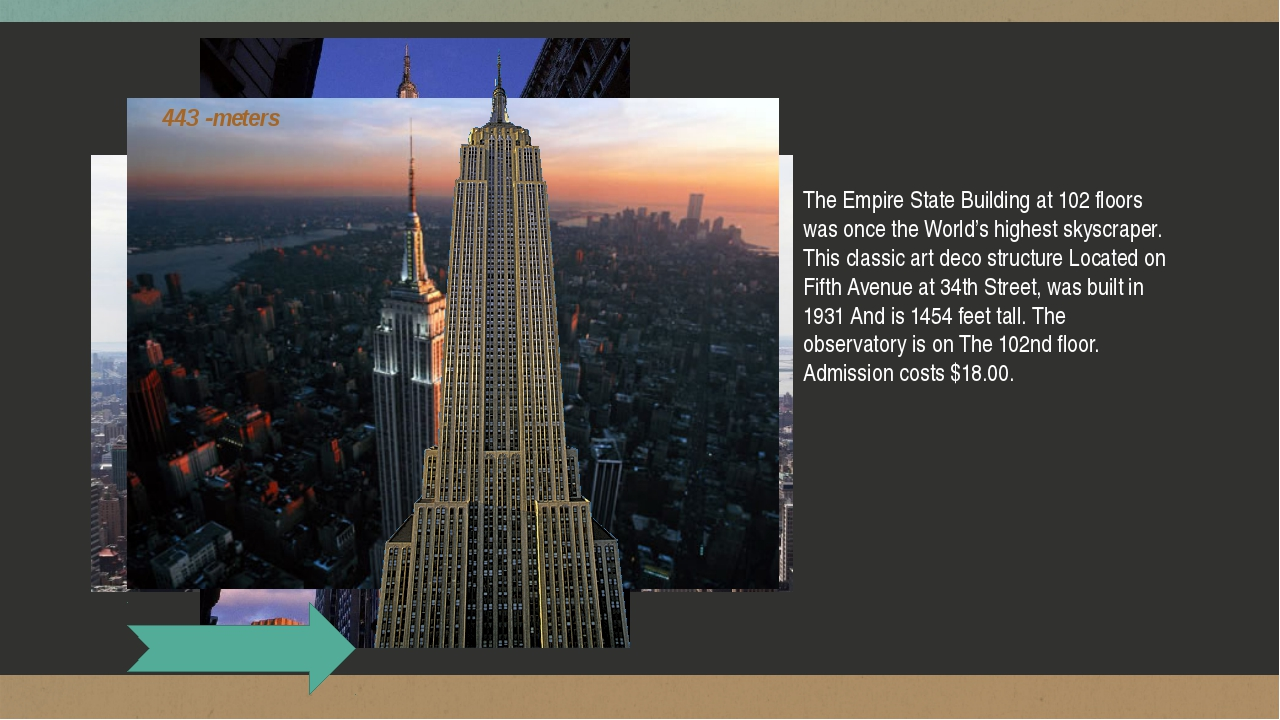 The Empire State Building at 102 floors was once the World's highest skyscra...