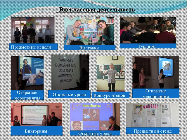 Внеклассная деятельность Предметные недели Выставки Турниры Открытые меропри...