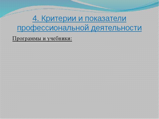 4. Критерии и показатели профессиональной деятельности Программы и учебники: