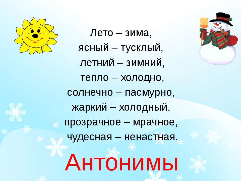 Лето – зима, ясный – тусклый, летний – зимний, тепло – холодно, солнечно – п...