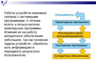 Работа устройств напрямую связана с системными программами. А «ближе всего» к