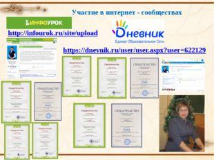 Участие в интернет - сообществах http://infourok.ru/site/upload https://dnevn