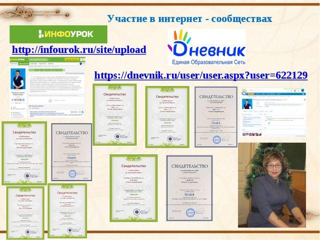 Участие в интернет - сообществах http://infourok.ru/site/upload https://dnevn...