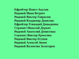 Ефрейтор Павел Акулов Рядовой Иван Ветрич Рядовой Виктор Гаврилов Рядовой Вл