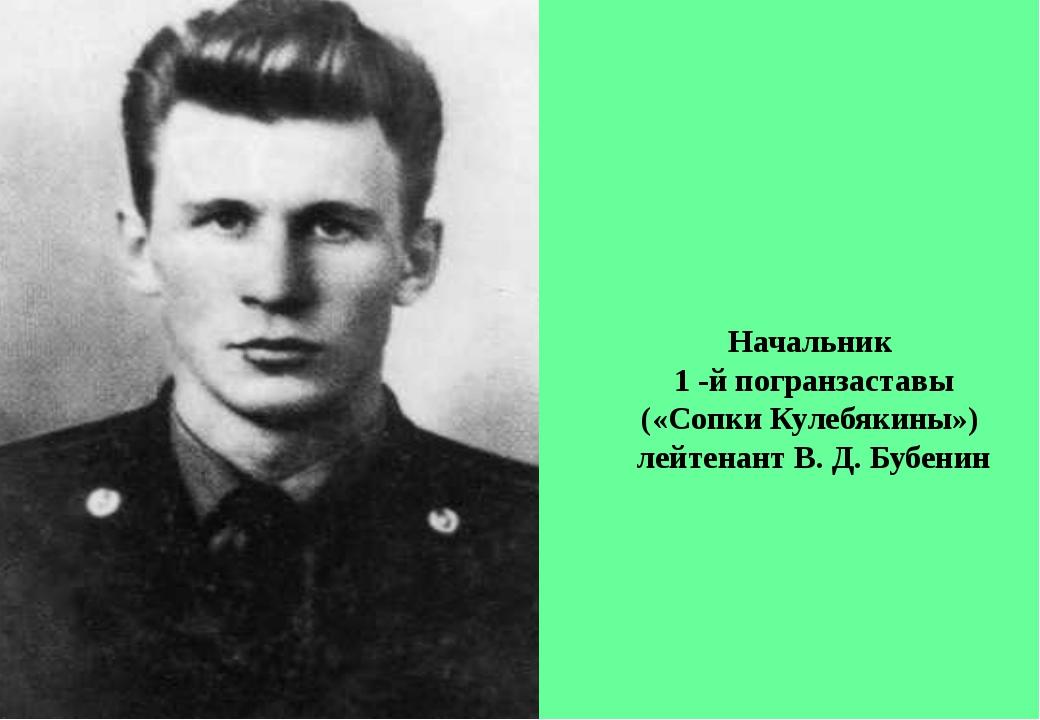 Начальник 1 -й погранзаставы («Сопки Кулебякины») лейтенант В. Д. Бубенин