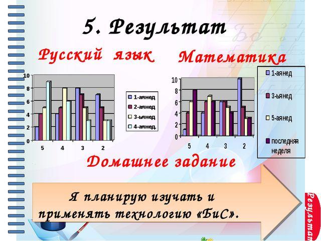 Результат Русский язык 5. Результат Я планирую изучать и применять технологи...