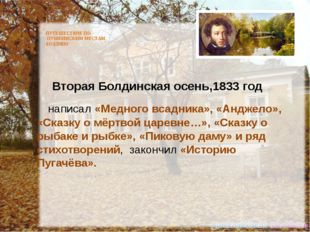 ПУТЕШЕСТВИЕ ПО ПУШКИНСКИМ МЕСТАМ. БОЛДИНО Вторая Болдинская осень,1833 год н