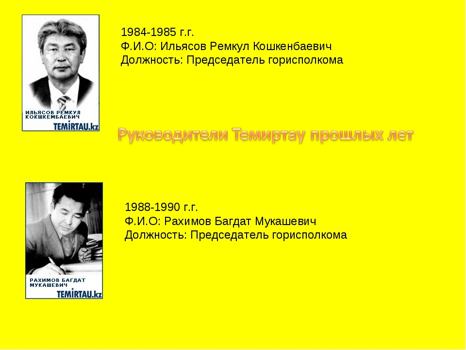 1984-1985 г.г. Ф.И.О: Ильясов Ремкул Кошкенбаевич Должность: Председатель гор...
