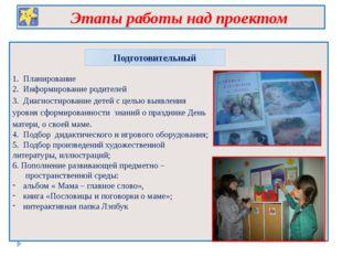 Этапы работы над проектом Подготовительный 1. Планирование 2. Информирование