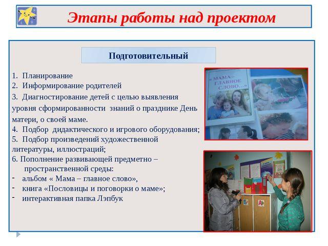 Этапы работы над проектом Подготовительный 1. Планирование 2. Информирование...