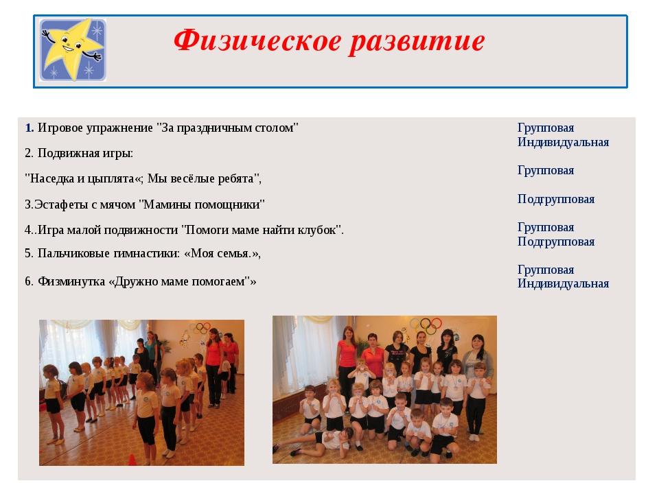"""Физическое развитие 1.Игровоеупражнение """"За праздничным столом"""" 2. Подвижнаяи..."""