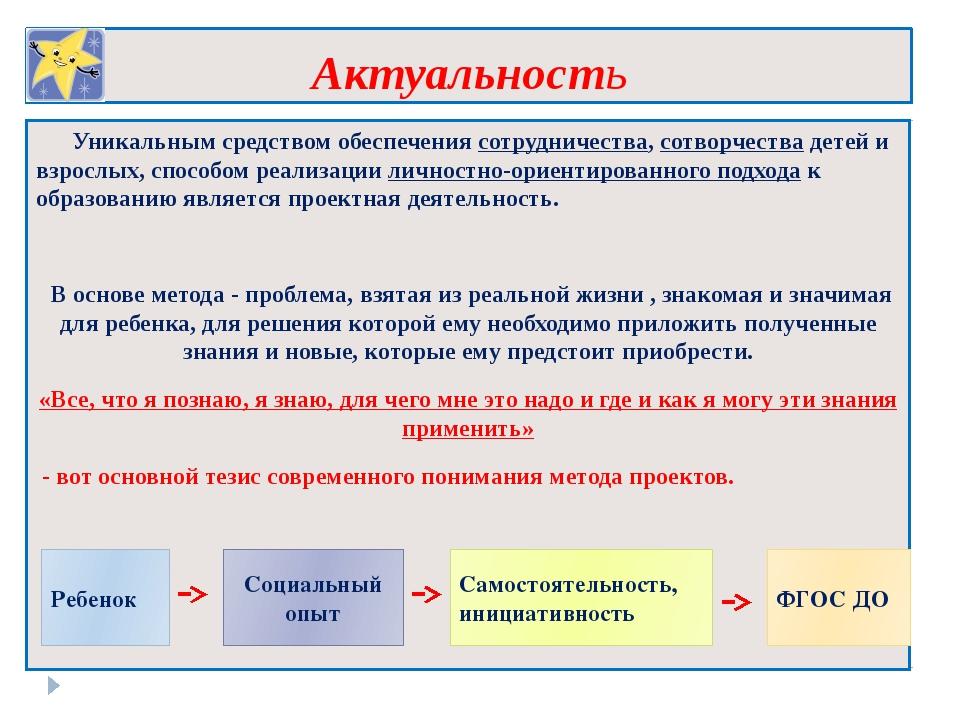 Актуальность Уникальным средством обеспечения сотрудничества, сотворчества де...