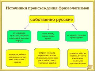 Источники происхождения фразеологизмов собственно русские из истории и культу